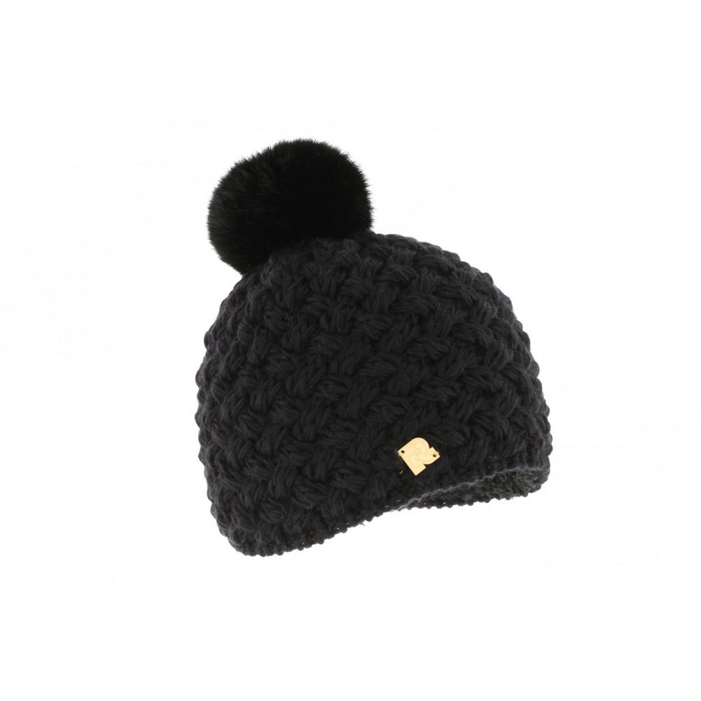 bonnet noir pompon fourrure lapin achat bonnet laine mode livr 48h. Black Bedroom Furniture Sets. Home Design Ideas