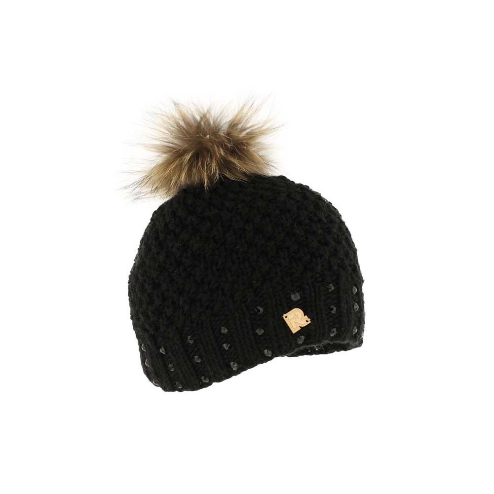 bonnet noir pompon fourrure achat bonnet strass femme livr en 48h. Black Bedroom Furniture Sets. Home Design Ideas