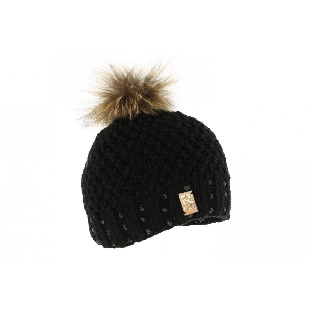 bonnet pompon fille noir avec strass rmountain boutique hatshowroom. Black Bedroom Furniture Sets. Home Design Ideas