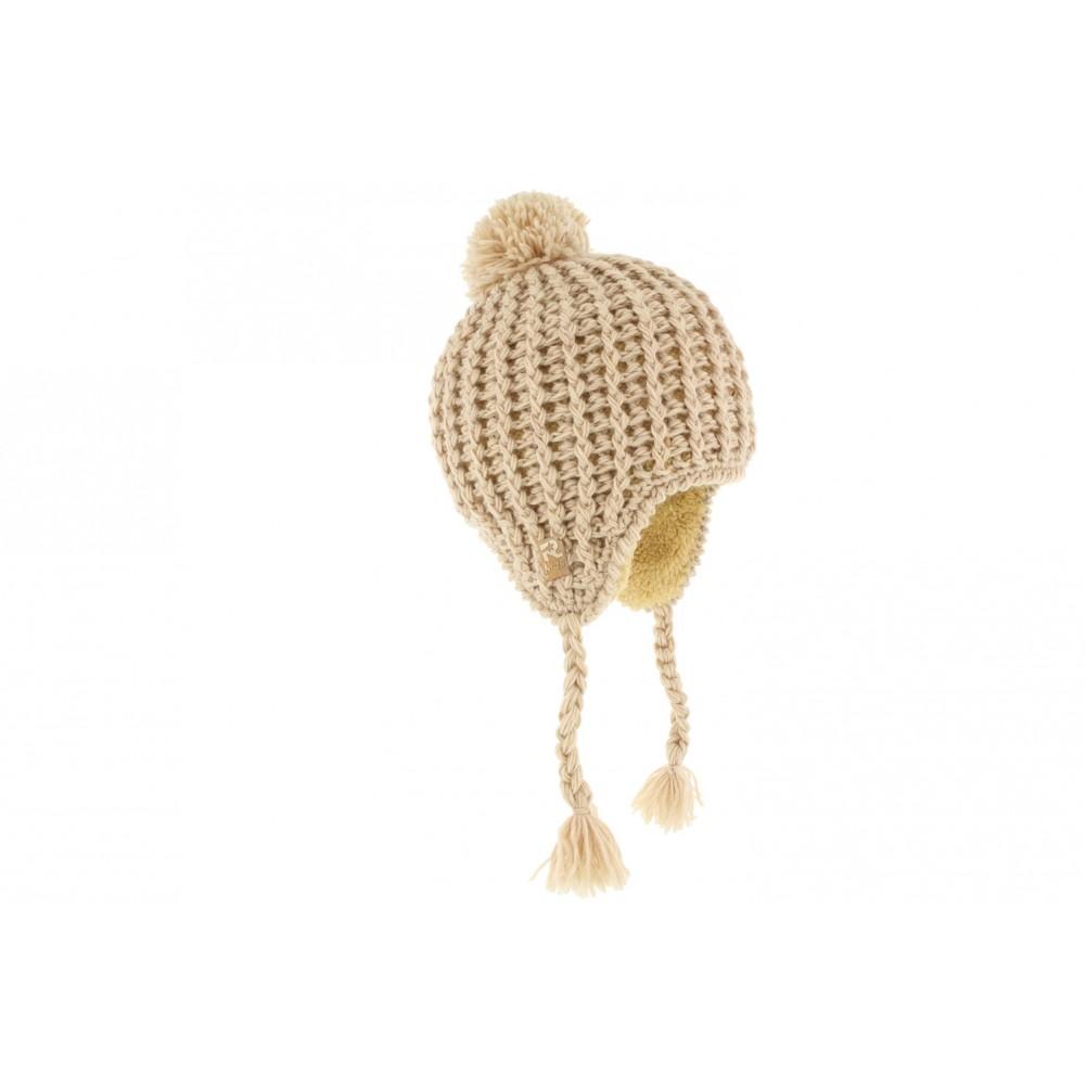 vente bonnet p ruvien b b beige bonnet b b en laine livraison 48h. Black Bedroom Furniture Sets. Home Design Ideas