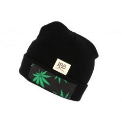 Bonnet Noir Feuille Verte JBB Couture