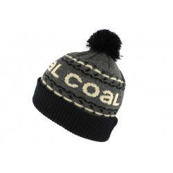 Bonnet Pompon Coal Headwear The Kelso Gris et Noir BONNETS COAL