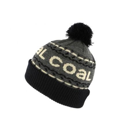 Bonnet Pompon Coal Headwear The Kelso Gris et Noir BONNETS COAL