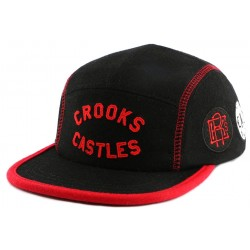 Casquette 5 Panel Crooks and Castles Players Club Rouge et Noire