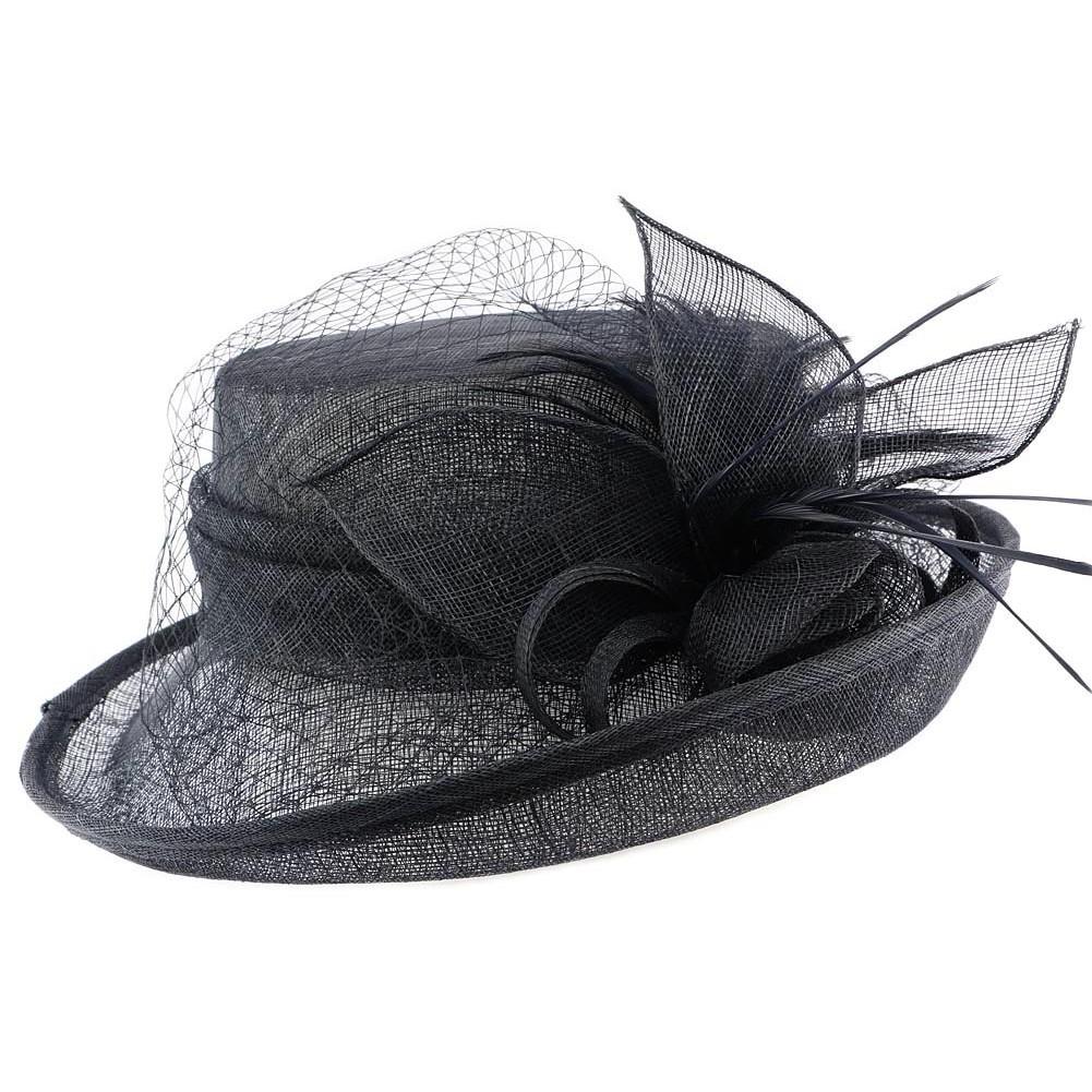 vente chapeau mariage bleu marine capeline c r monie. Black Bedroom Furniture Sets. Home Design Ideas