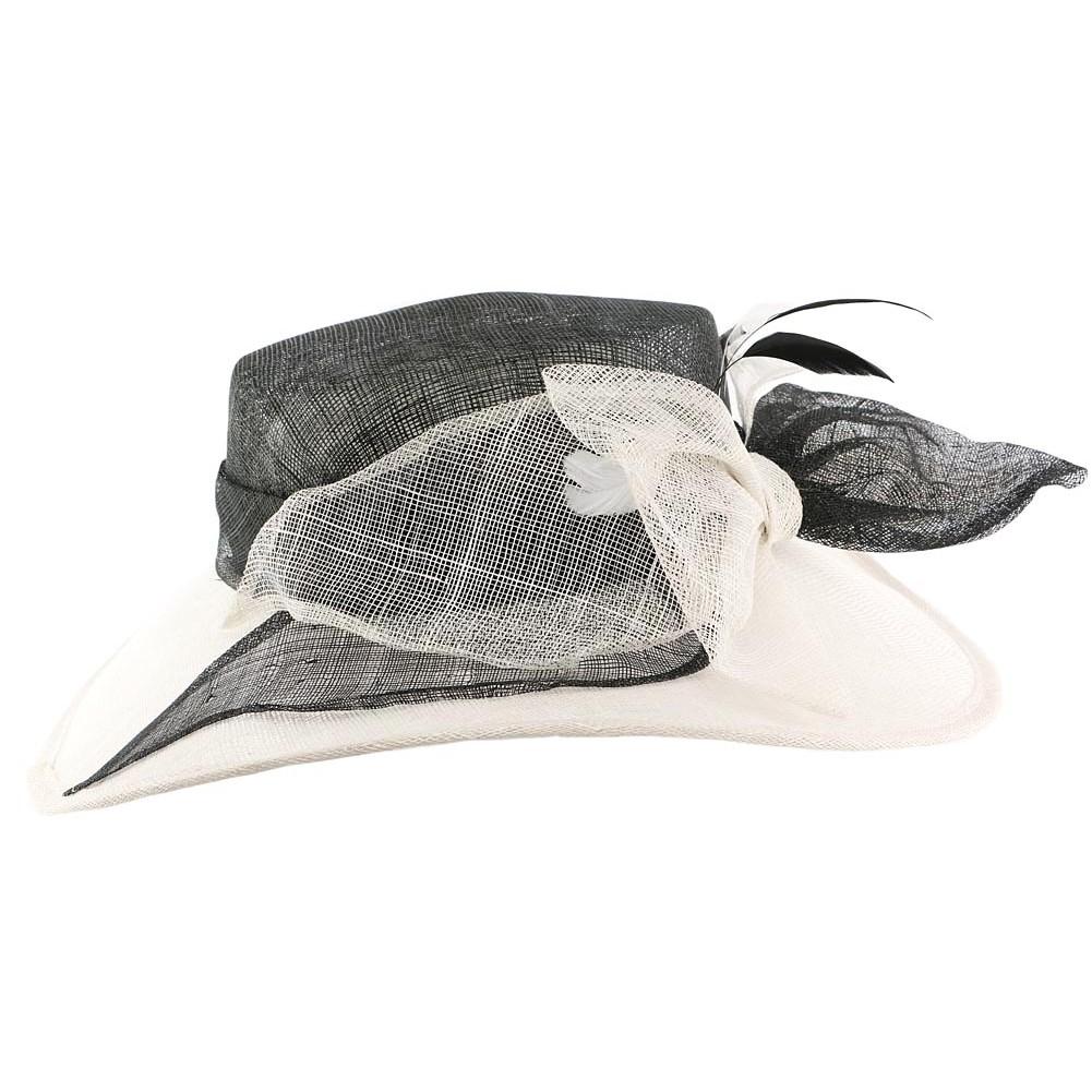 chapeau mariage blanc et noir achat mariage capeline. Black Bedroom Furniture Sets. Home Design Ideas