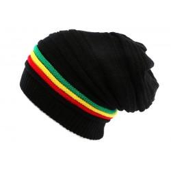 Bonnet Rasta Noir avec lignes Jamaique