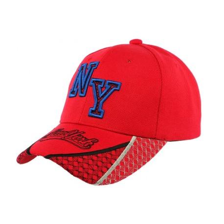 9e18233473f3a Casquette Baseball NY Rouge et bleu visière courbée New York livré 48h