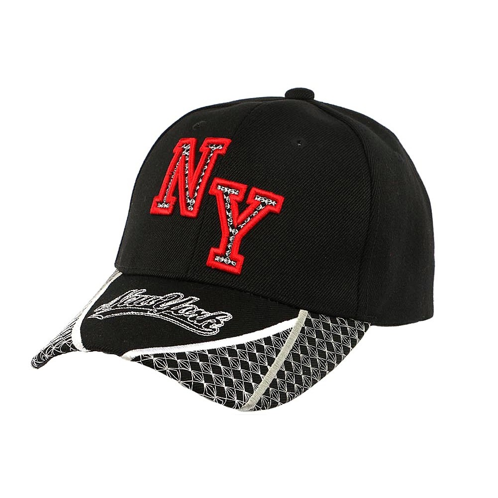 casquette baseball ny noire et rouge stan visi re curved new york. Black Bedroom Furniture Sets. Home Design Ideas