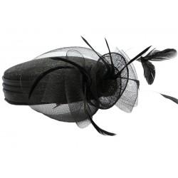 Chapeau Mariage Noir en paille sisal Mure