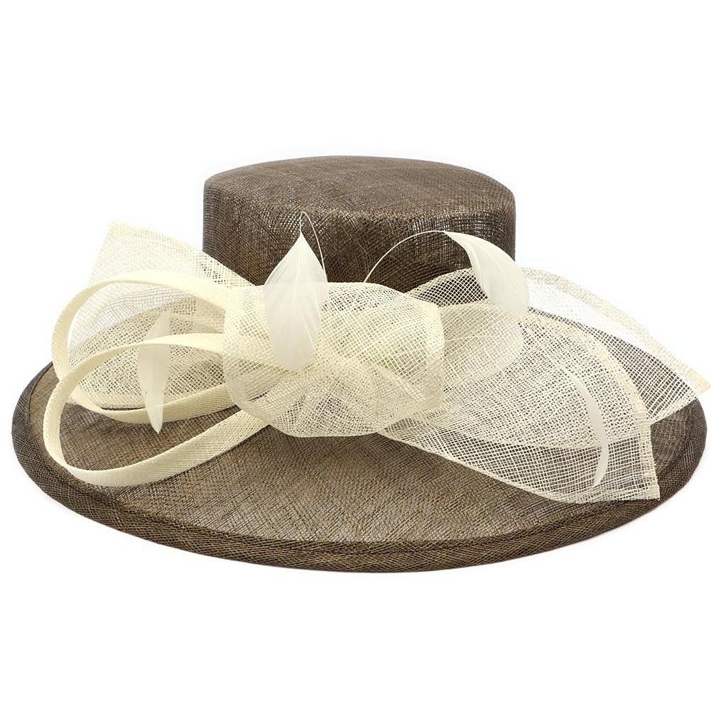 chapeau mariage marron et ivoire achat chapeau mariage. Black Bedroom Furniture Sets. Home Design Ideas
