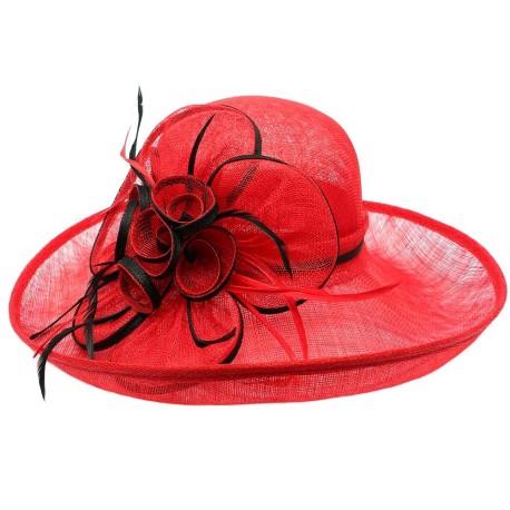 Chapeau Mariage Rouge en paille sisal Fraise Chapeau cérémonie Léon montane