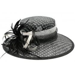 Chapeau mariage Noir Claridge à pois blanc en sisal