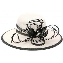 Chapeau Mariage Blanc et Noir en paille Sisal Elément