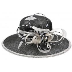Chapeau Mariage Noir et Blanc Elément en paille sisal Chapeau cérémonie Léon montane