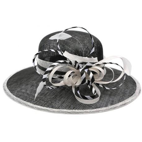 Chapeau Mariage Noir et Blanc Elément en paille sisal