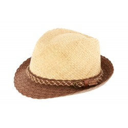 Chapeau paille Naturel et Marron Powell par Herman Headwear