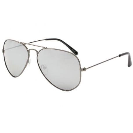 Lunettes de soleil aviateur gris fonc verre miroir never for Lunette de soleil avec verre miroir