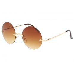 Lunettes de Soleil avec monture dorée verres Marron Elton