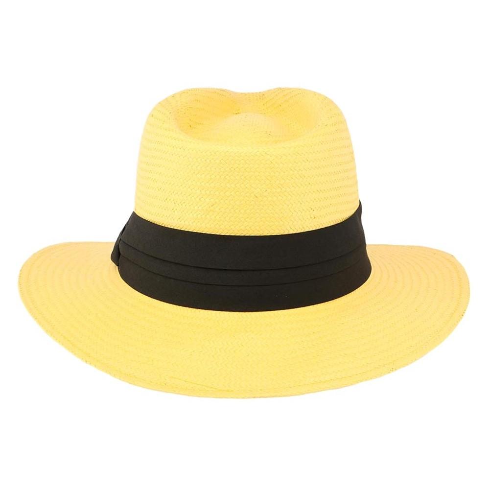 vente chapeau de paille jaune th o panama homme femme. Black Bedroom Furniture Sets. Home Design Ideas