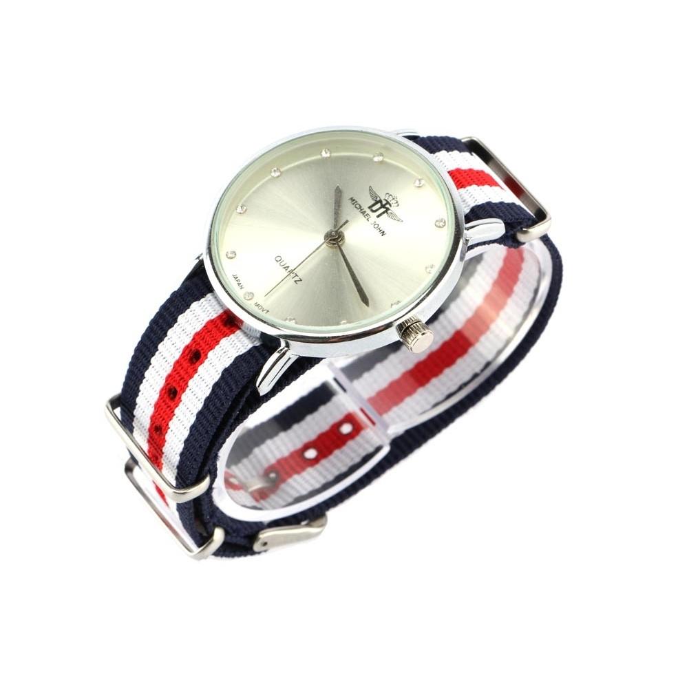 vente montre femme bracelet tissu bleu et rouge milana livraison 48h. Black Bedroom Furniture Sets. Home Design Ideas