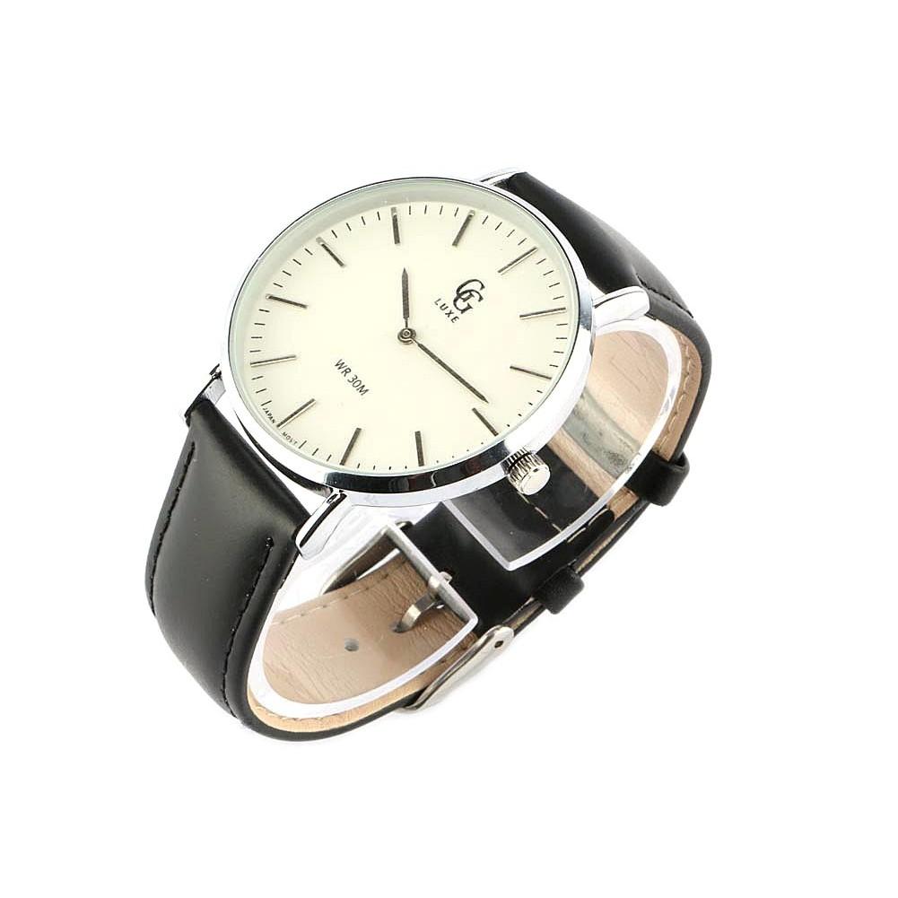 vente montre homme bracelet cuir noir nelson livraison 48h. Black Bedroom Furniture Sets. Home Design Ideas