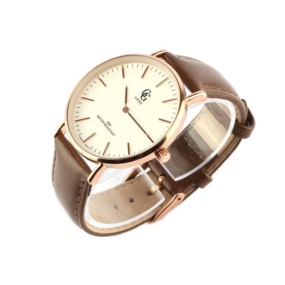 vente montre homme bracelet cuir marron nelson cran dor livr 48h. Black Bedroom Furniture Sets. Home Design Ideas