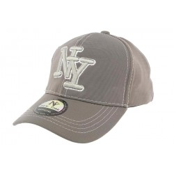 Casquette Baseball NY Grise Surpiqures Blanches
