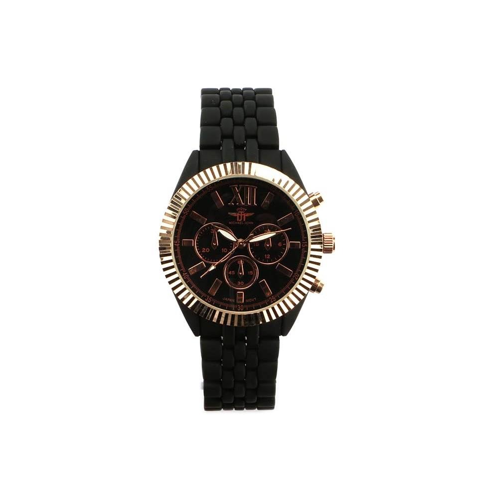 vente montre bracelet m tal noir cadran dor blacksmart livr 48h. Black Bedroom Furniture Sets. Home Design Ideas