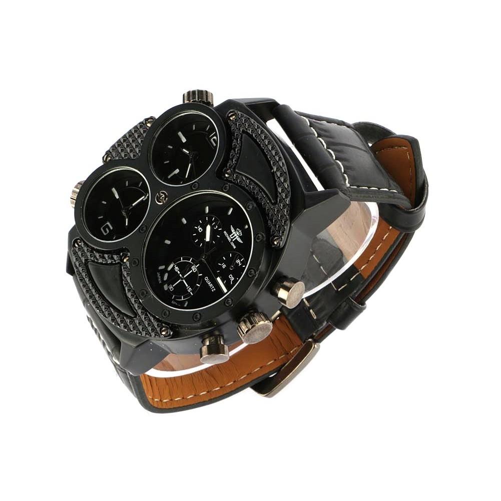 vente montre homme noire bracelet cuir 3 cadrans kalt. Black Bedroom Furniture Sets. Home Design Ideas