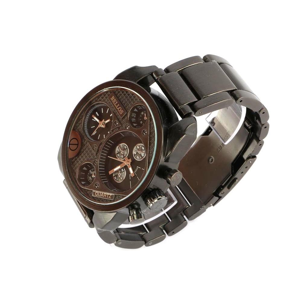 vente montre homme acier anthracite 2 fuseaux horaires falkt livr 48h. Black Bedroom Furniture Sets. Home Design Ideas