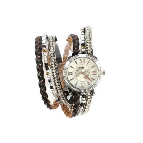 vente montre femme bracelet cristal double tour marron kelly livr 48h. Black Bedroom Furniture Sets. Home Design Ideas