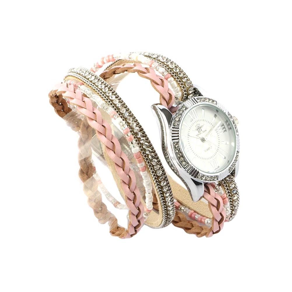 vente montre femme bracelet double tour cristal rose kelly livr 48h. Black Bedroom Furniture Sets. Home Design Ideas