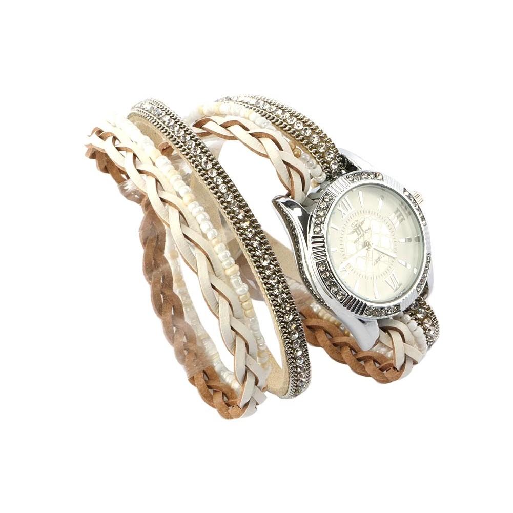 vente montre femme bracelet double tour cristal blanc kelly livr 48h. Black Bedroom Furniture Sets. Home Design Ideas