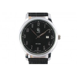 Montre Bracelet cuir noir cadran acier fond noir Arthur Montre GG Luxe