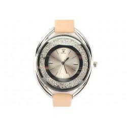 Montre Femme fin bracelet cuir beige Star