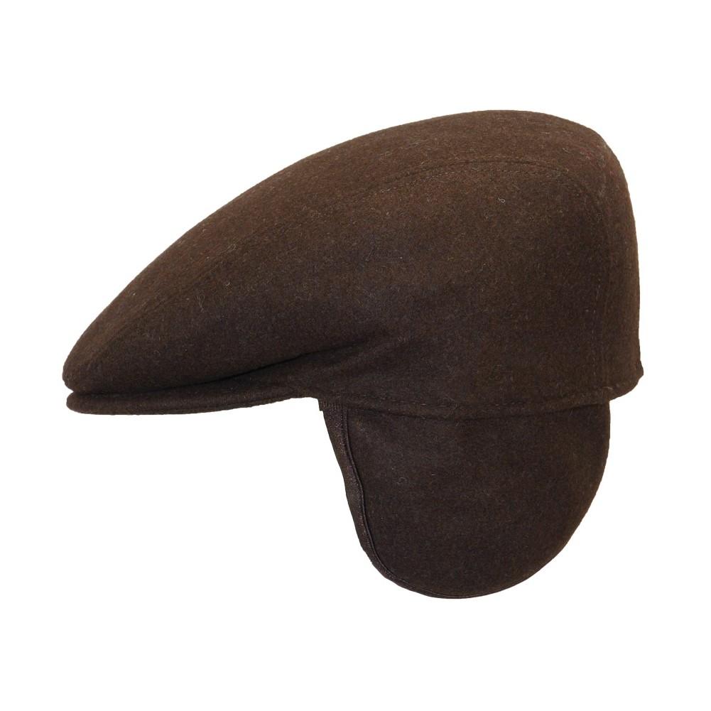 casquette plate marron homme avec cache oreilles livraison 48h. Black Bedroom Furniture Sets. Home Design Ideas