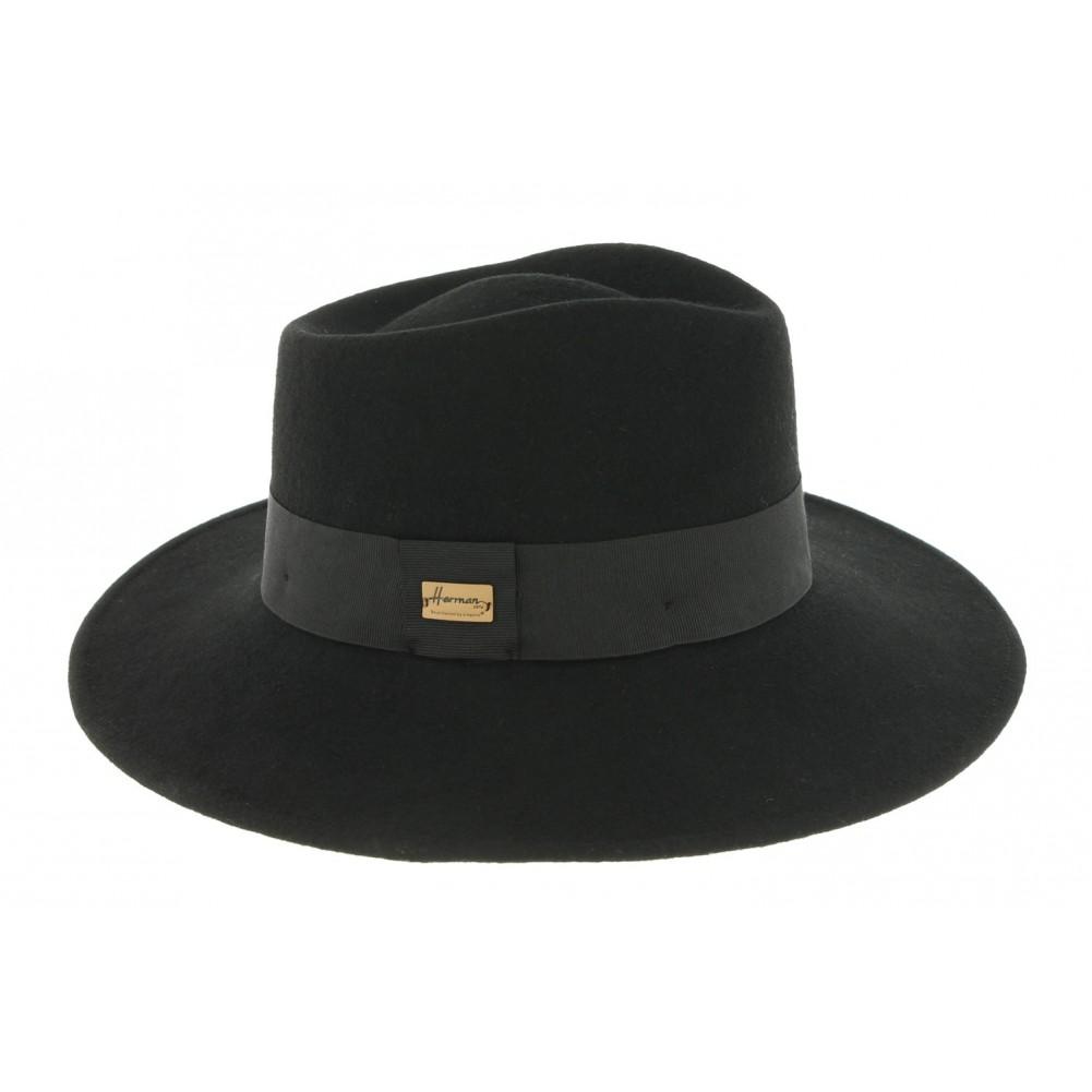 chapeau fedora femme noir herman achat capeline noire livr en 48h. Black Bedroom Furniture Sets. Home Design Ideas