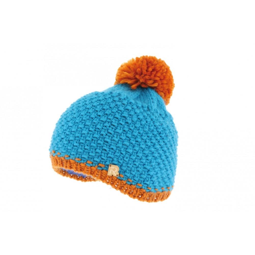 bonnet bleu pompon orange bonnet ski et ville rmountain livr en 48h. Black Bedroom Furniture Sets. Home Design Ideas