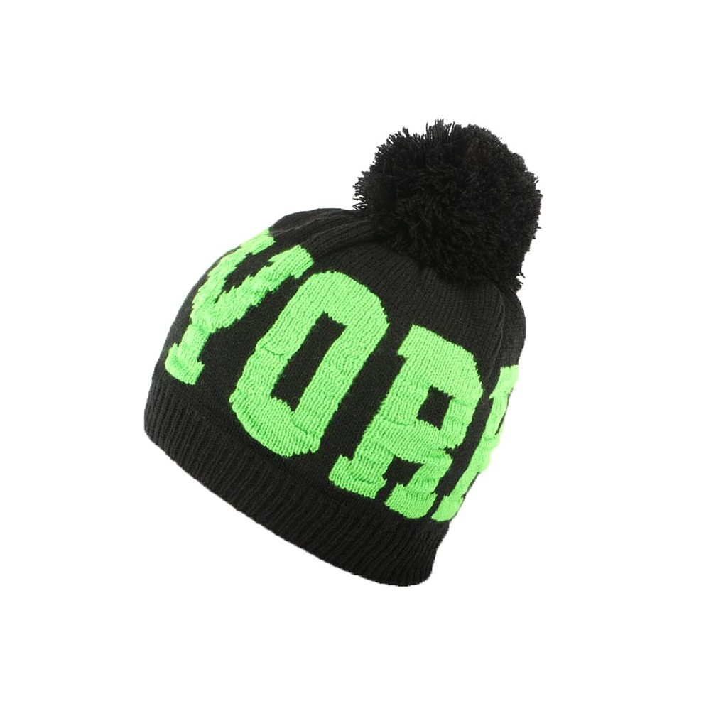 bonnet ny vert et noir neyra bonnet pompon streetwear livr en 48h. Black Bedroom Furniture Sets. Home Design Ideas