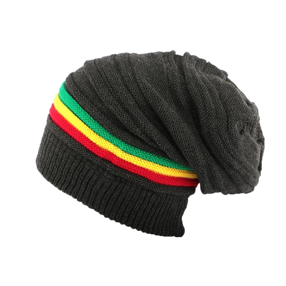Bonnet rasta Gris Long Jamaique, Bonnet long homme femme