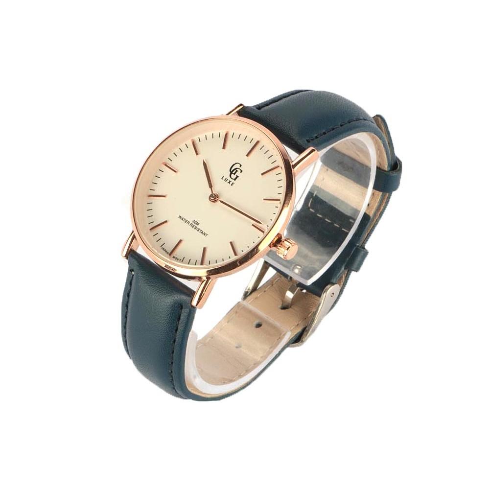 montre femme dor bleu nelsy montre bracelet cuir pas cher livr 48h. Black Bedroom Furniture Sets. Home Design Ideas