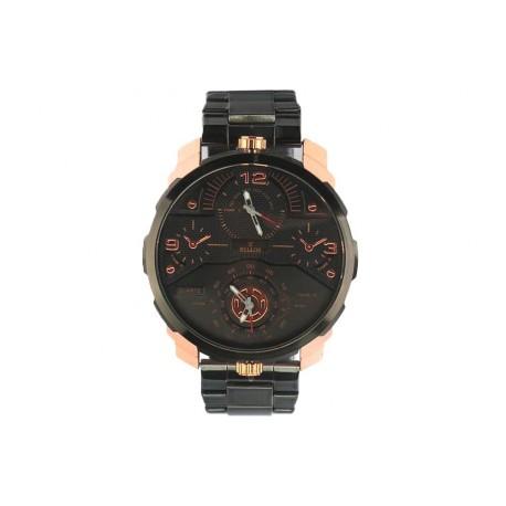 grosse montre homme noire dor e akel montre bracelet acier livr 48h. Black Bedroom Furniture Sets. Home Design Ideas