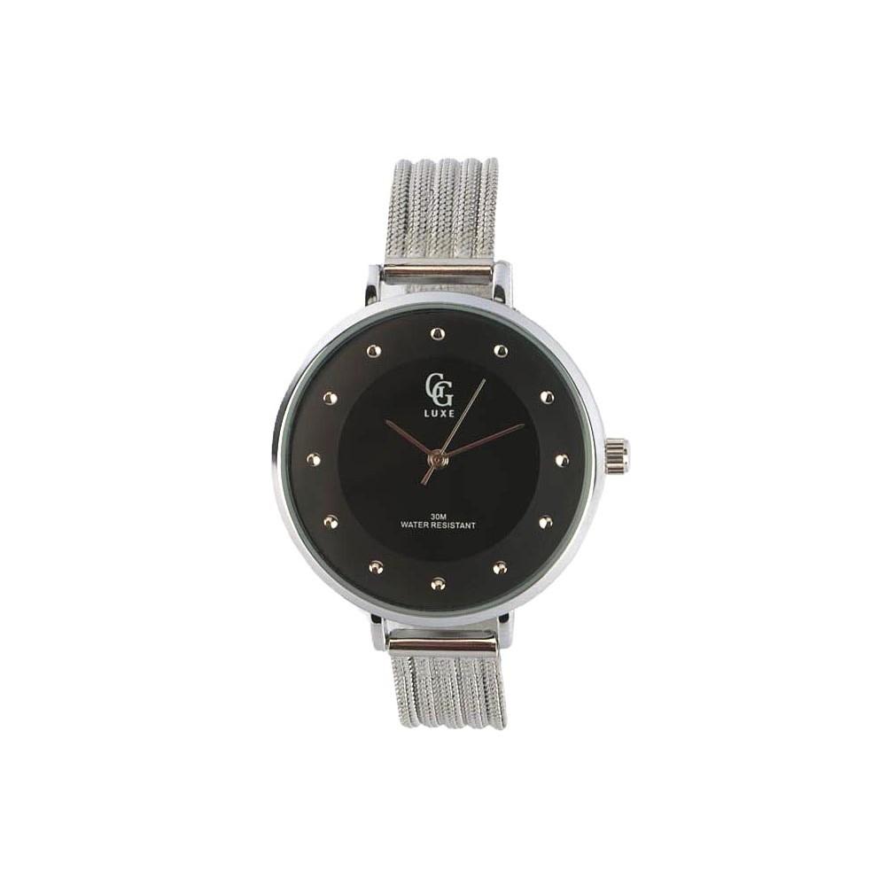 montre femme noire mary montre bracelet maille milanaise. Black Bedroom Furniture Sets. Home Design Ideas