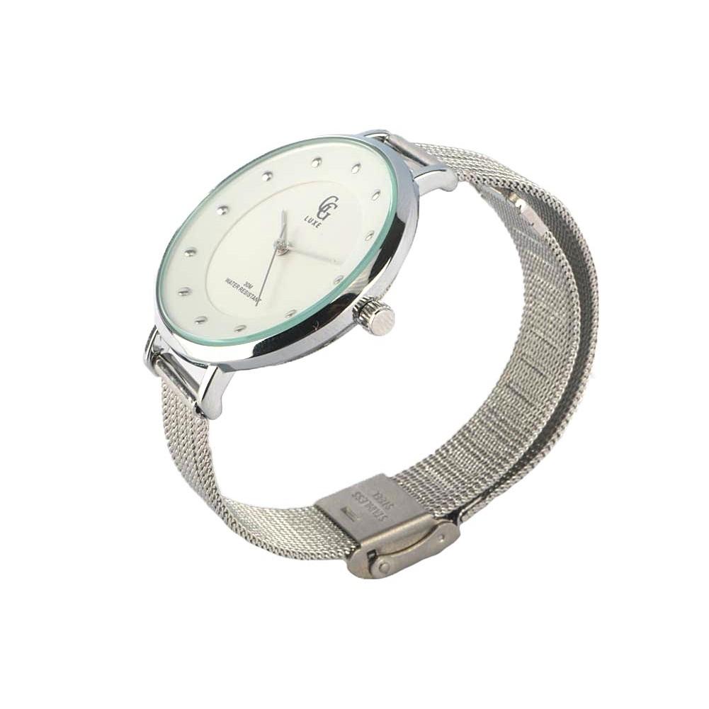 montre femme blanche montre bracelet maille milanaise mary livr 48h. Black Bedroom Furniture Sets. Home Design Ideas