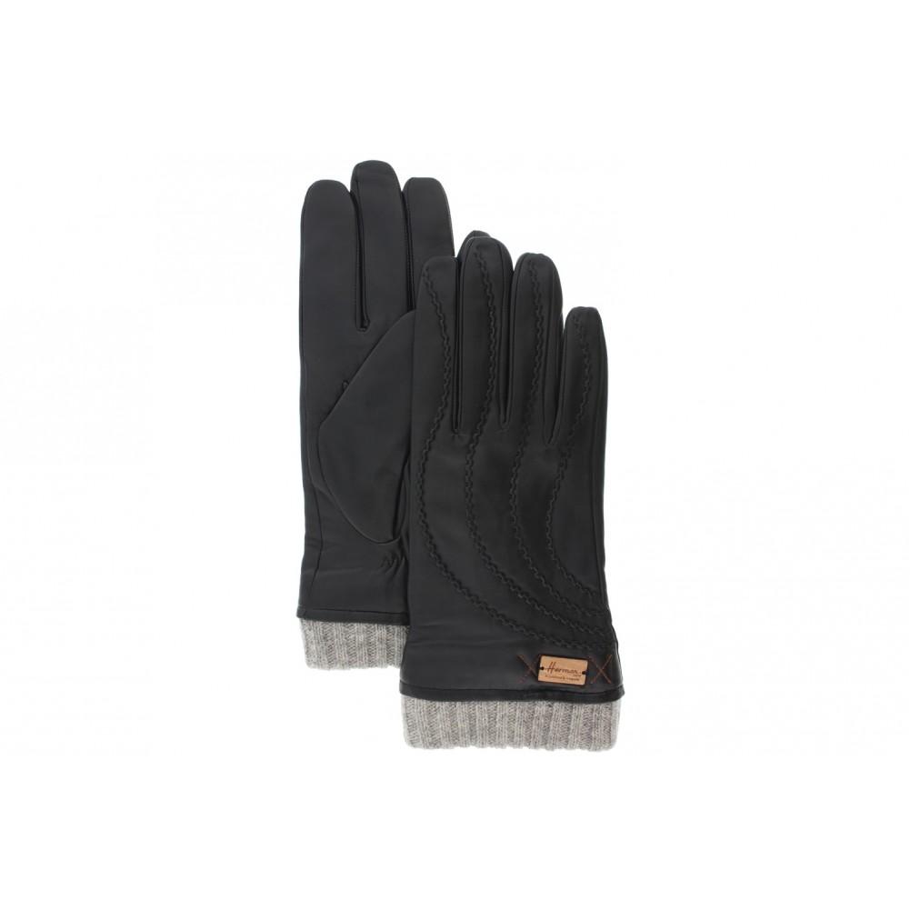 gants cuir homme noir kadour herman gants chics surpiqu s livr 48h. Black Bedroom Furniture Sets. Home Design Ideas