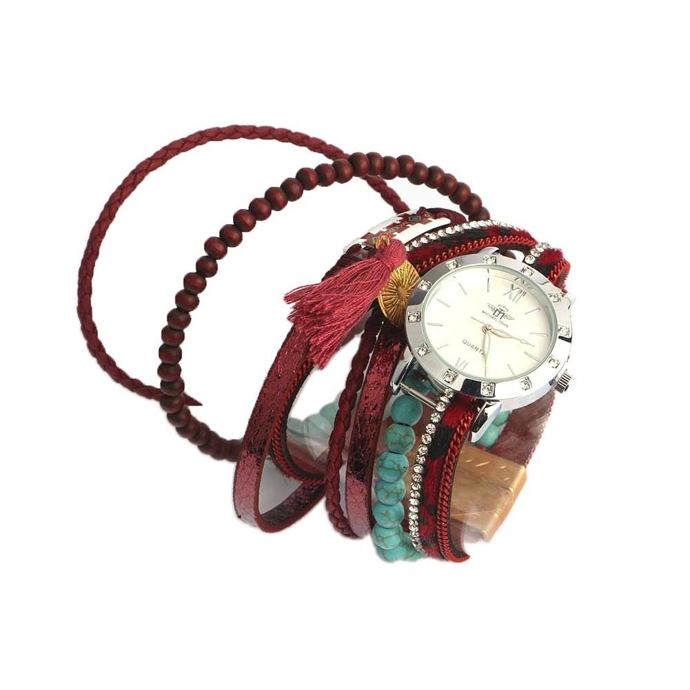 montre bracelet double tour rouge turquoise montre femme livr e 48h. Black Bedroom Furniture Sets. Home Design Ideas