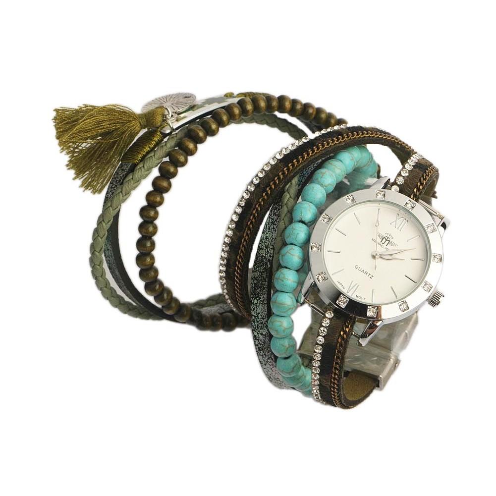 montre bracelet double tour verte et turquoise tella. Black Bedroom Furniture Sets. Home Design Ideas