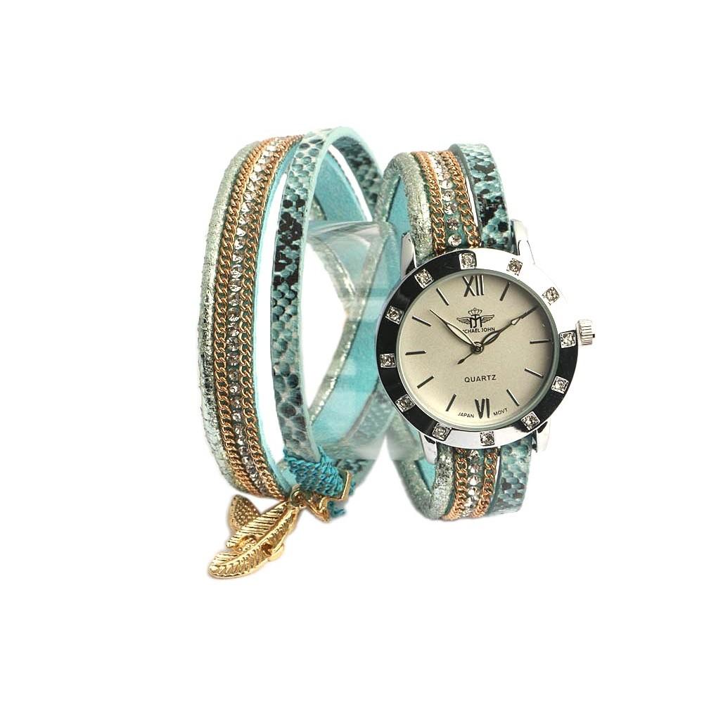 montre fantaisie bracelet double bleu montre femme classe livr 48h. Black Bedroom Furniture Sets. Home Design Ideas