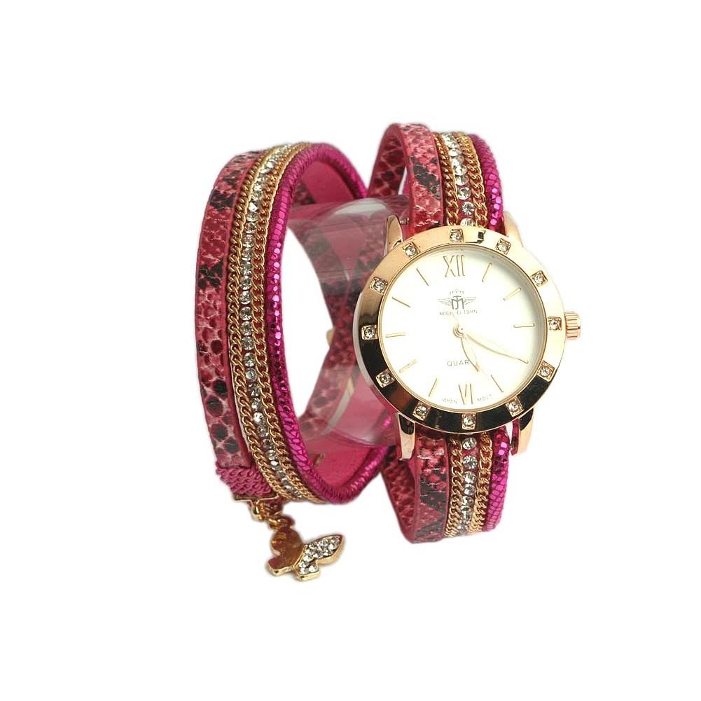 montre fantaisie bracelet double fuchsia montre femme chic livr 48h. Black Bedroom Furniture Sets. Home Design Ideas